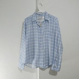 Frank&Eileen linen barry button down plaid shirt E